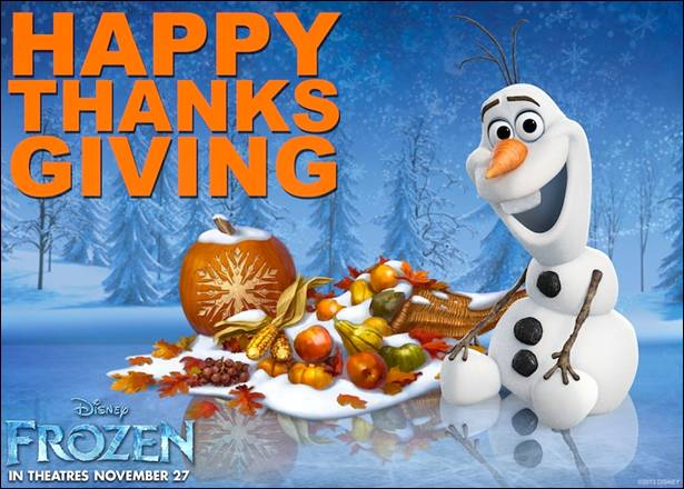 Happy Thanksgiving from Frozen (plus our thoughts on the movie)