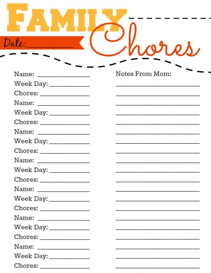 Family Chores Printable