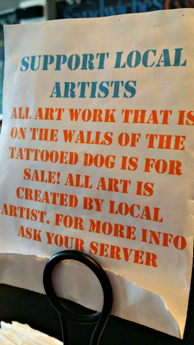 Table sign Tattooed Dog