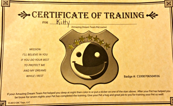 pets training certificate
