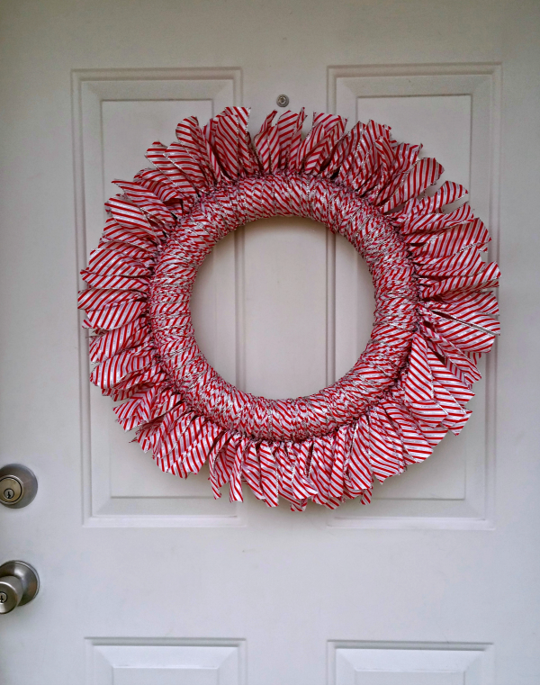 ribbon wreath on door