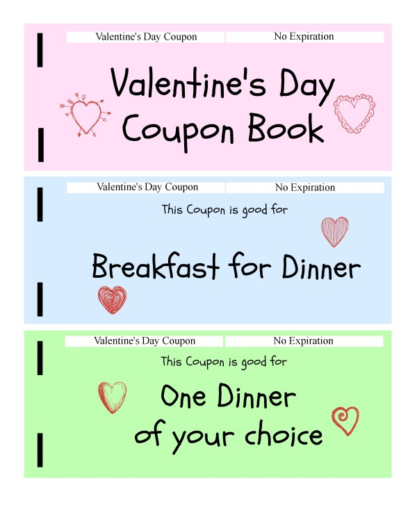 Free Printable Coupon Books For Kids Kids Vday Coupon Book Page 1