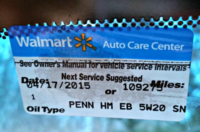 walmart auto center sticker
