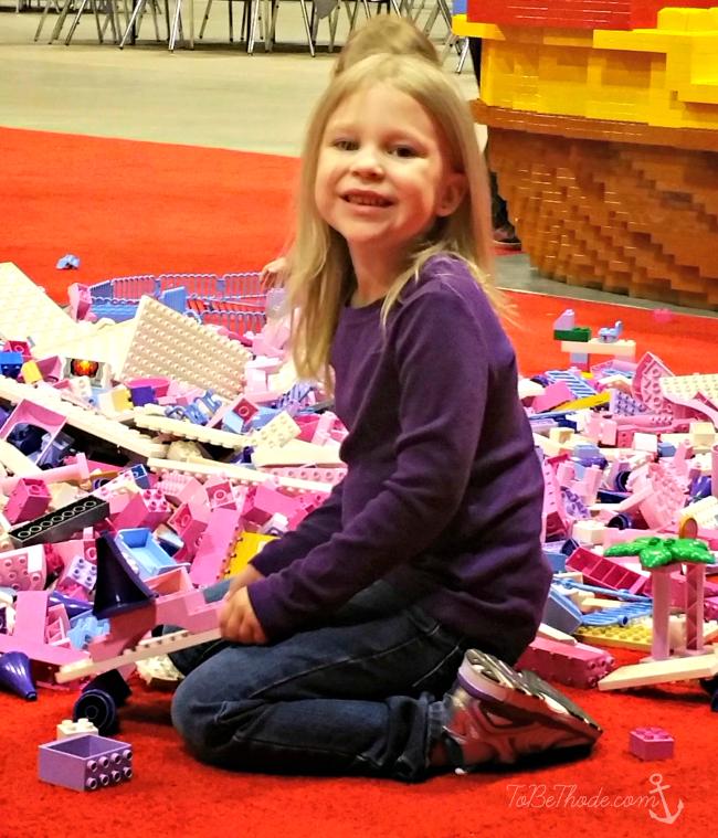 girl lego pile