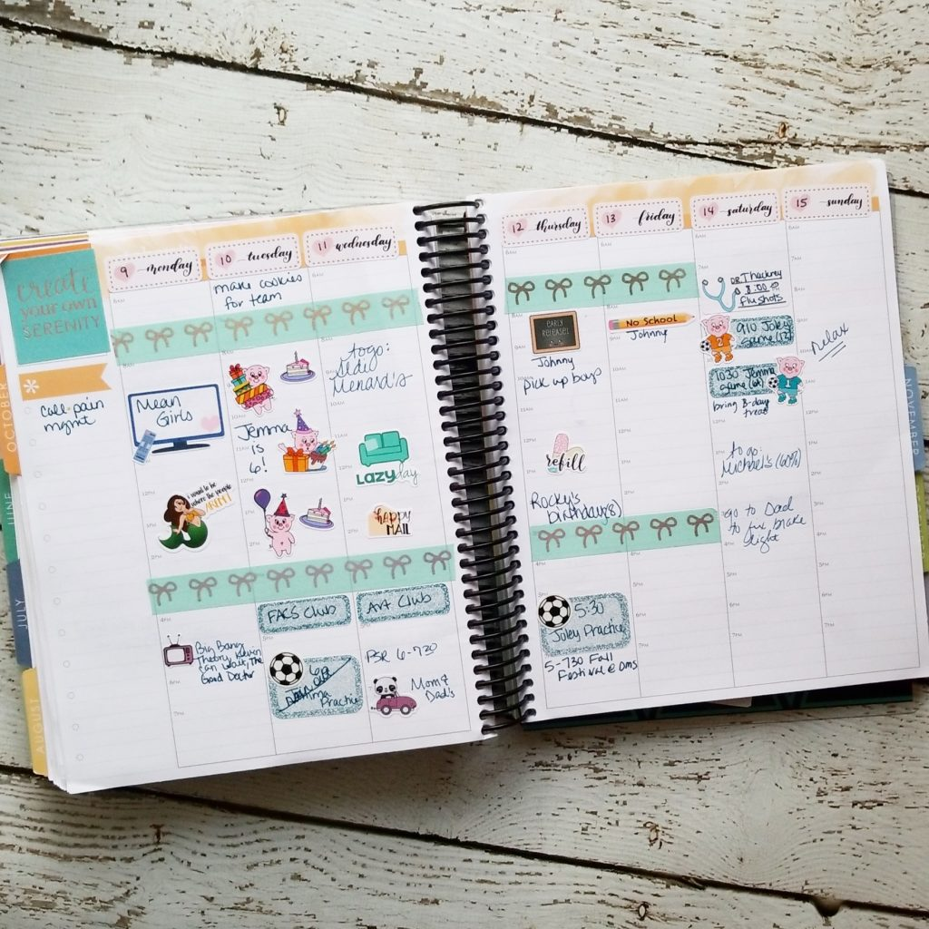 Planner spreads for week of 10/8