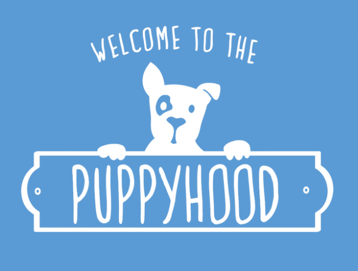 welcome to the puppyhood logo